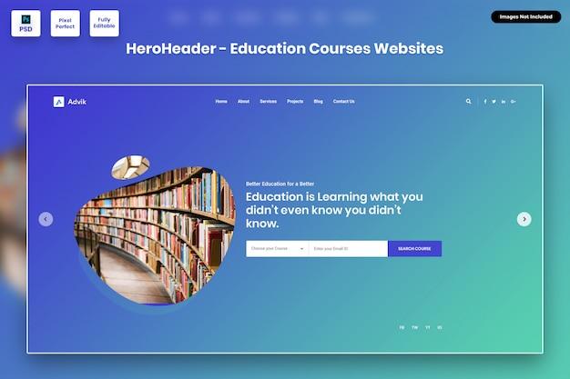 En-tête de héros pour les sites web de cours d'éducation