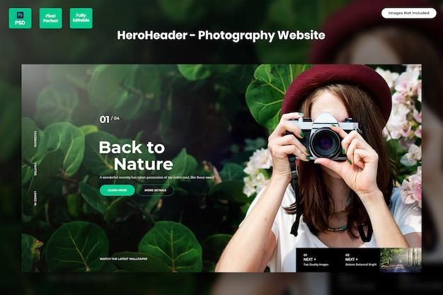 En-tête de héros pour les sites web de photographie