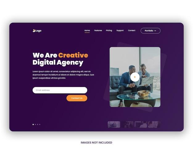 En-tête de page de destination de l'agence numérique