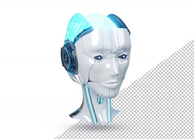 Tête de robot cyborg femelle blanche et bleue isolée