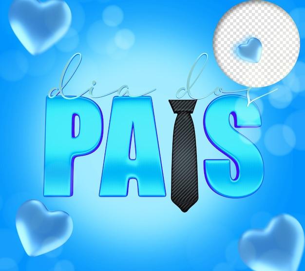 Texte 3d de la fête des pères avec cravate et coeurs bleus