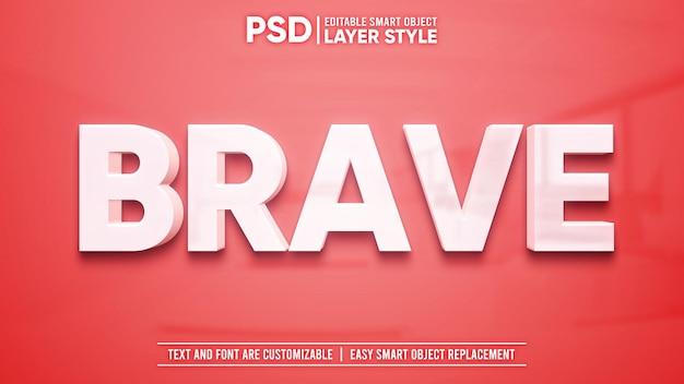Texte blanc propre avec réflexion sur l'effet de texte de style de calque d'objet intelligent modifiable en 3d granit rouge