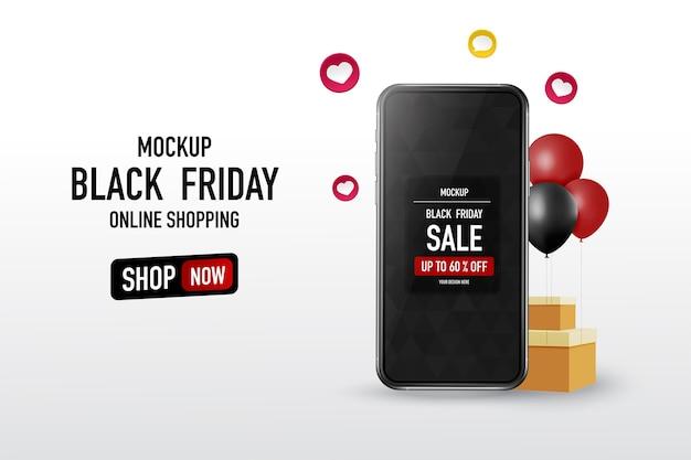 Texte du vendredi noir avec maquette de smartphone
