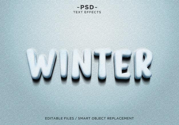 Texte d'effets de neige d'hiver réaliste 3d
