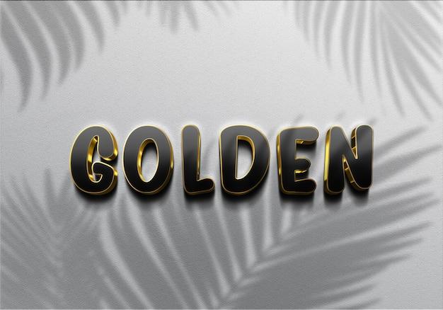 Texte d'effets d'or noir réaliste 3d