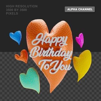 Texte de joyeux anniversaire de rendu 3d