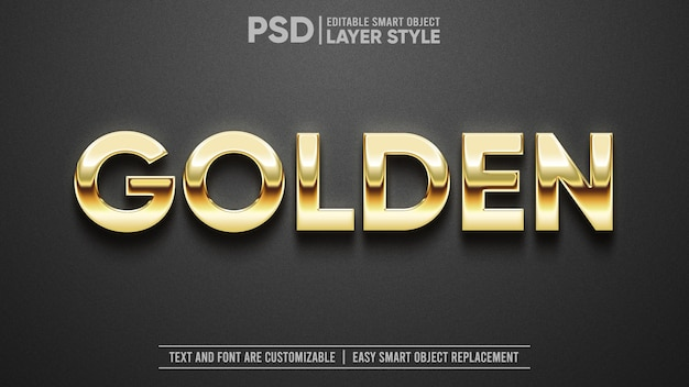 Texte ou logo doré 3d sur effet de texte de maquette d'objet intelligent modifiable en granit noir