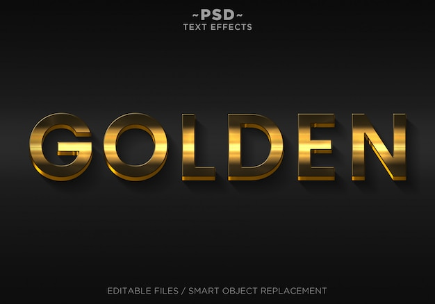 Texte modifiable 3d golden elegant effects