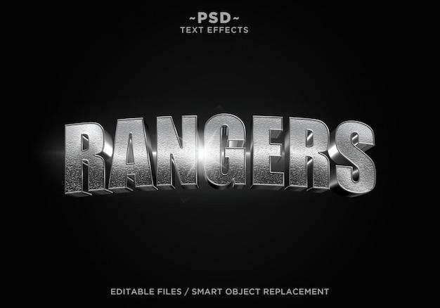 Texte modifiable d'effet d'acier cinématographique des rangers 3d