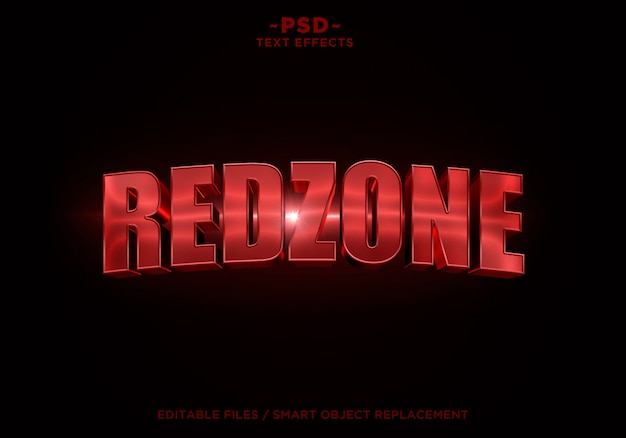 Texte modifiable d'effet cinématographique redzone 3d