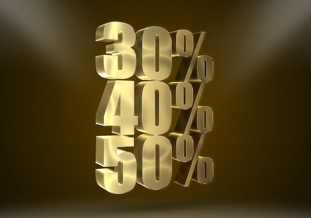 Texte modifiable d'effets de réduction d'or réaliste 3d