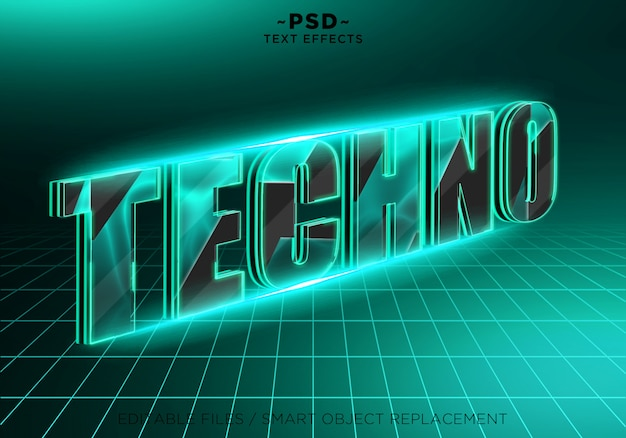 Texte modifiable d'effets techno 3d