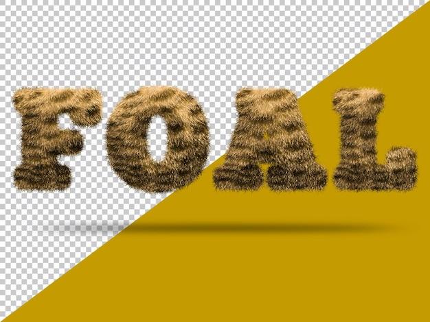 Texte de poulain avec fourrure 3d réaliste