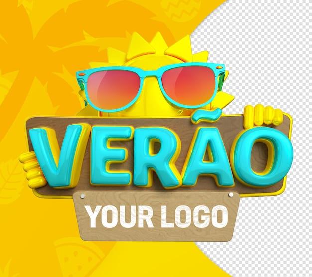 Texte de timbre 3d d'été avec soleil et texte de nom 3d lunettes bleues et jaunes