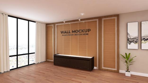 Texture de mur de bureau maquette en bois logo 3d réaliste