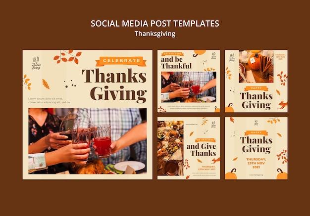 Thanksgiving ig posts avec détails d'automne
