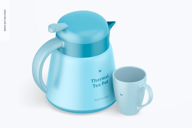 Théière thermique avec maquette de tasse, vue isométrique