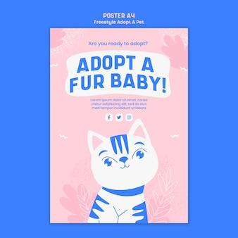 Thème de l'affiche avec adopter un animal de compagnie