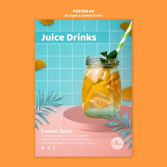 Thème d'affiche de boissons de profondeur et de réalisme 3d