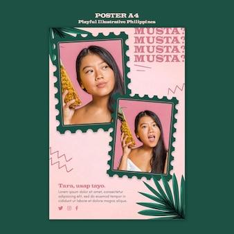 Thème de l'affiche illustrée des philippines ludique