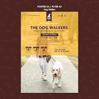 Thème d'affiche de promeneur de chien