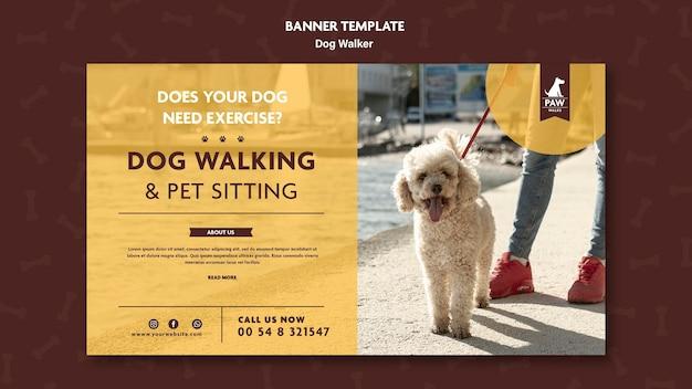 Thème de bannière de promeneur de chien