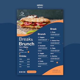 Thème de brunch pour le concept de modèle de menu
