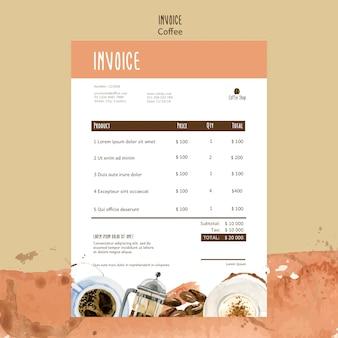 Thème du café pour le modèle de facture