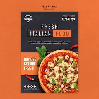 Thème du flyer de la cuisine italienne