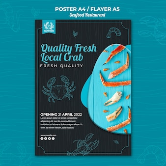 Thème du flyer du restaurant de fruits de mer