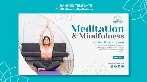 Thème du modèle de bannière de méditation
