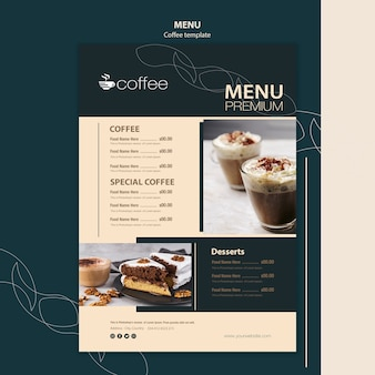 Thème du modèle de menu avec café