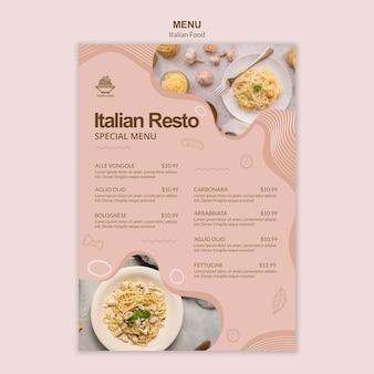 Thème du modèle de menu de cuisine italienne