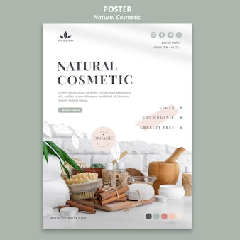 Thème de flyer de cosmétiques naturels