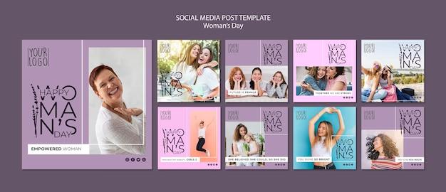 Thème de la journée de la femme pour le modèle de publication sur les médias sociaux
