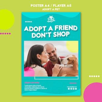 Thème De Modèle D'affiche D'adoption Pour Animaux De Compagnie Psd gratuit