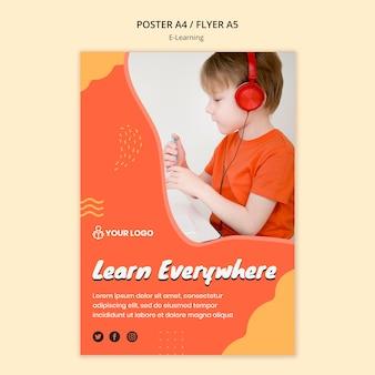 Thème De Modèle D'affiche D'apprentissage E Psd gratuit