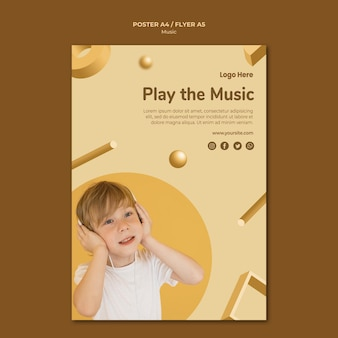 Thème de modèle d'affiche de musique