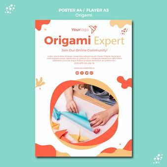 Thème de modèle d'affiche origami