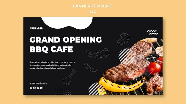 Thème de modèle de bannière barbecue