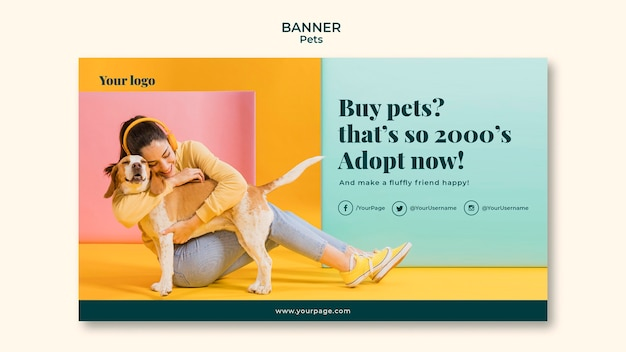 Thème de modèle de bannière pour animaux de compagnie