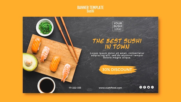 Thème de modèle de bannière de sushi