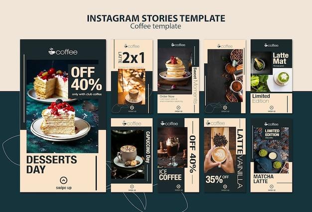 Thème de modèle d'histoires instagram avec café