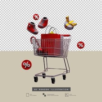 Thème de noël de panier d'achat d'icône de remise de vente avec l'illustration 3d de boîte-cadeau d'arc de bonbons et d'or