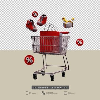 Thème de noël de panier d'achat de vente avec l'icône de remise et l'illustration 3d de boîte-cadeau d'arc d'or