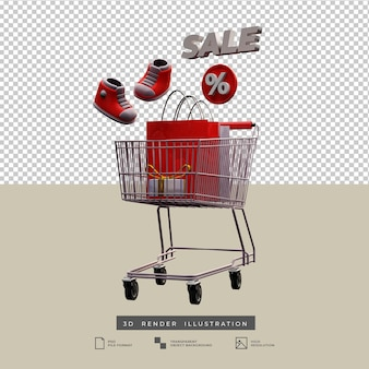 Thème de noël de panier de vente avec l'icône de remise et l'illustration 3d de boîte-cadeau d'arc d'or d'isolement