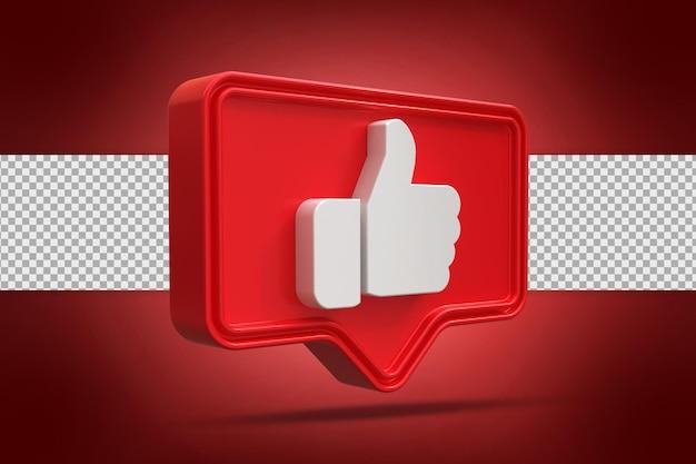 Thumbs up sign 3d bouton dans le rendu 3d