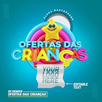 Timbre 3d en portugais pour la composition d'offres pour enfants pour la vente et la promotion de produits