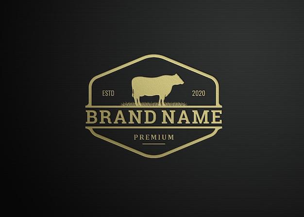 Timbre de luxe de maquette de logo sur fond texturé