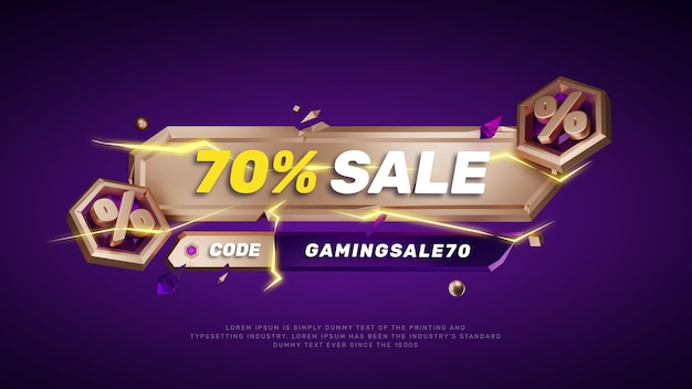Titre du texte violet modèle 3d or